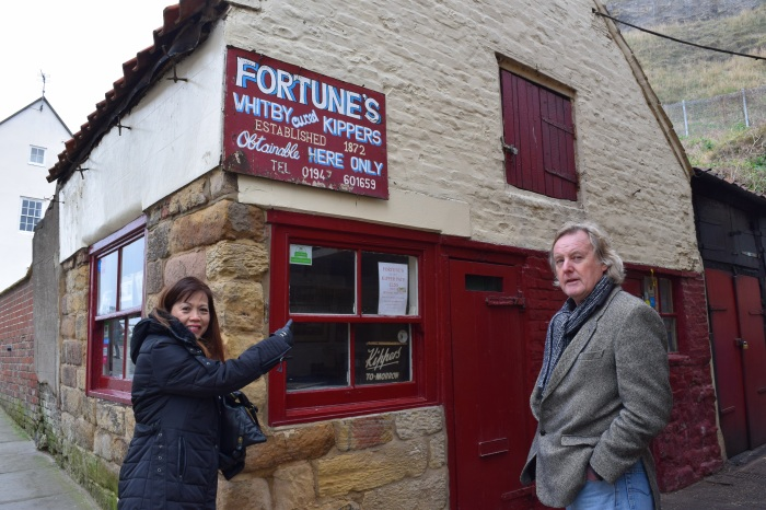 Joan and Stuart showing me the little shop that sells smoked kippers that is still in business after more than a century