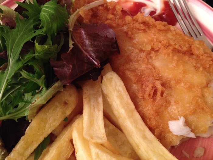 a must-have - fish and chips, added the salad to make it just that bit healthier