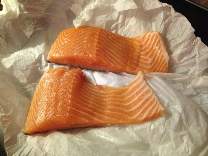 fresh Scottish salmon from the local fishmonger - thoughtful Corrina prepared it for my dinner on the first night I arrived in Aberdeen
