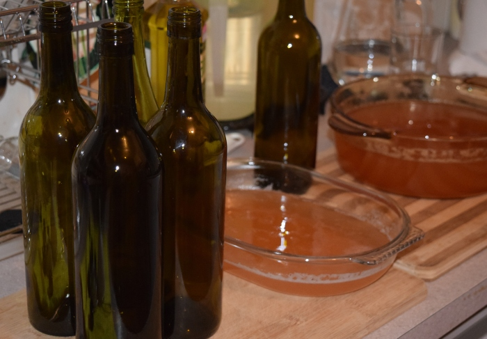 ready for bottling after the wine had cooled down