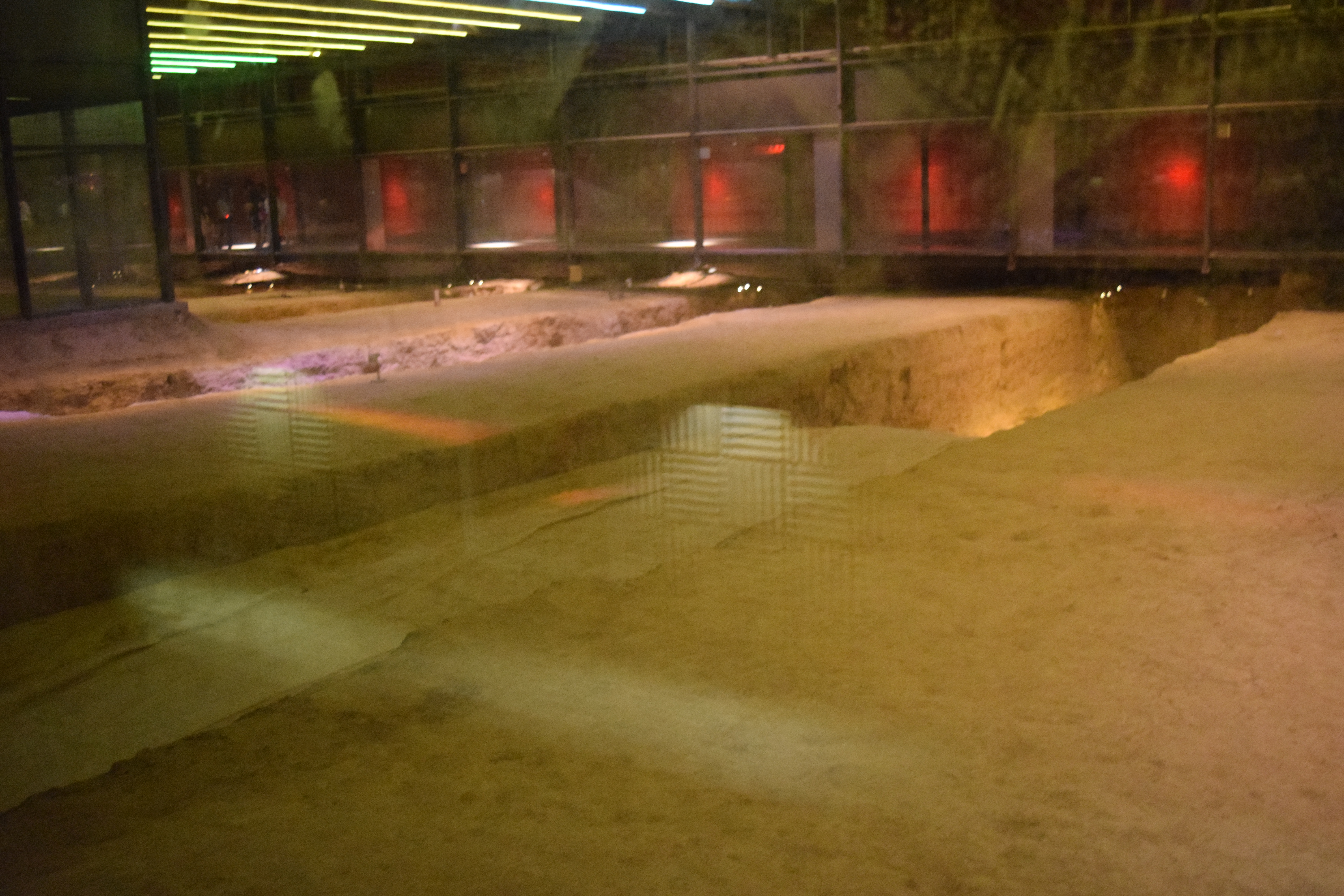 first view of the excavated pit in the glass panelled underground museum which was opened in 2007