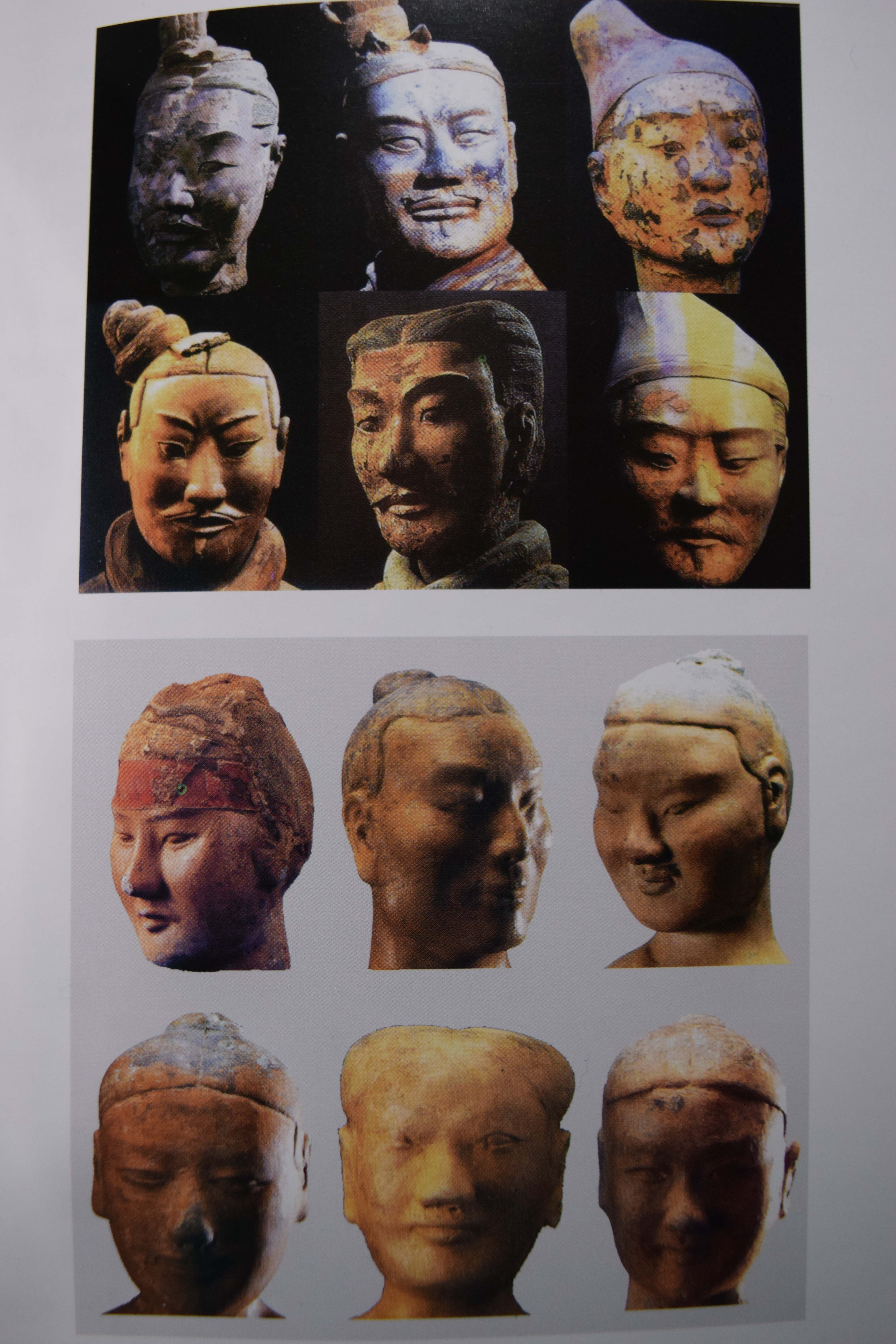 taken from a book - just to show the different facial expressions between the Qin terracotta warriors (top 6) and the Han clay figurines