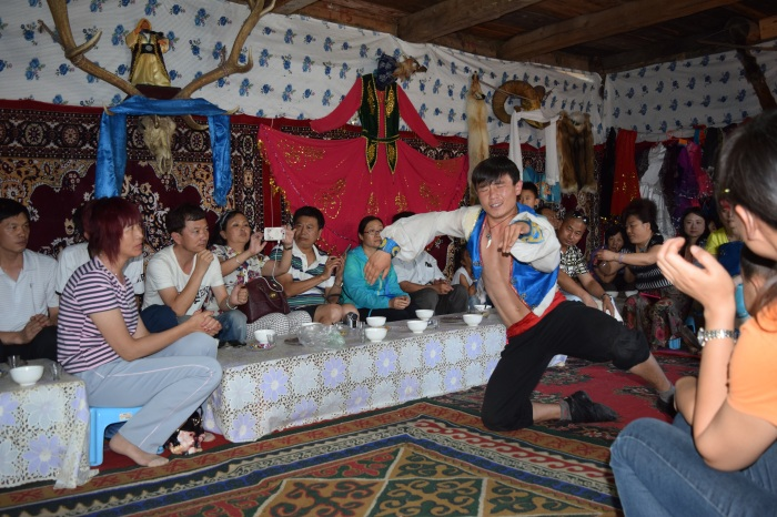 we were entertained with salty milk tea, distilled milk vodka, home made snacks and songs and dance...
