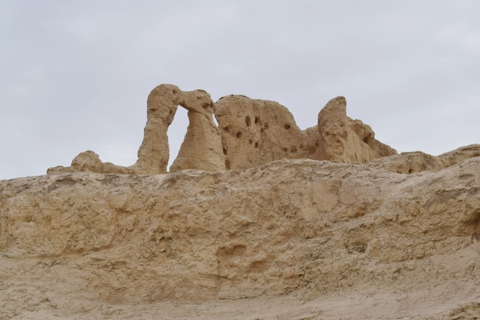 what greeted us near the entrance to the city - the eroded buildings have taken the form of two kissing camels....