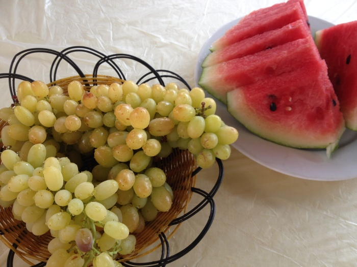 delicious seedless grapes and juicy water melon