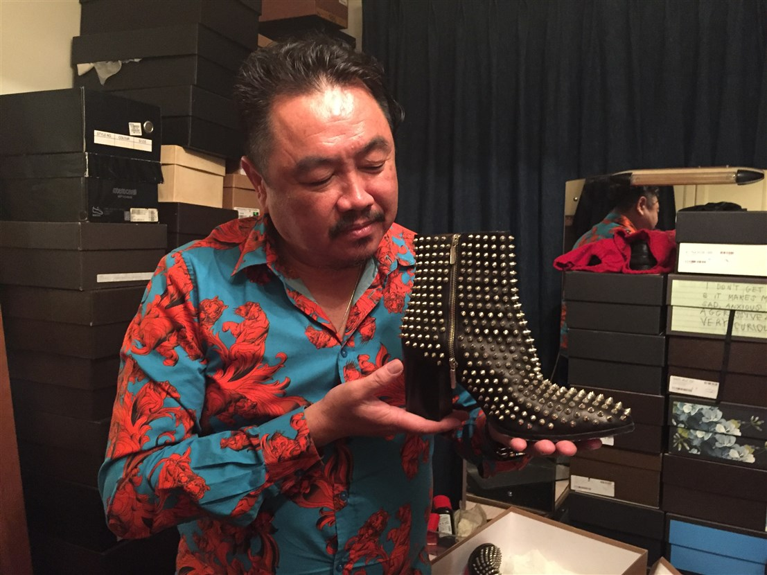profile of datuk gordon leong, bohemian, boho-chic apartment, interview with datuk gordon leong, designer shoes, Louboutin men's shoes