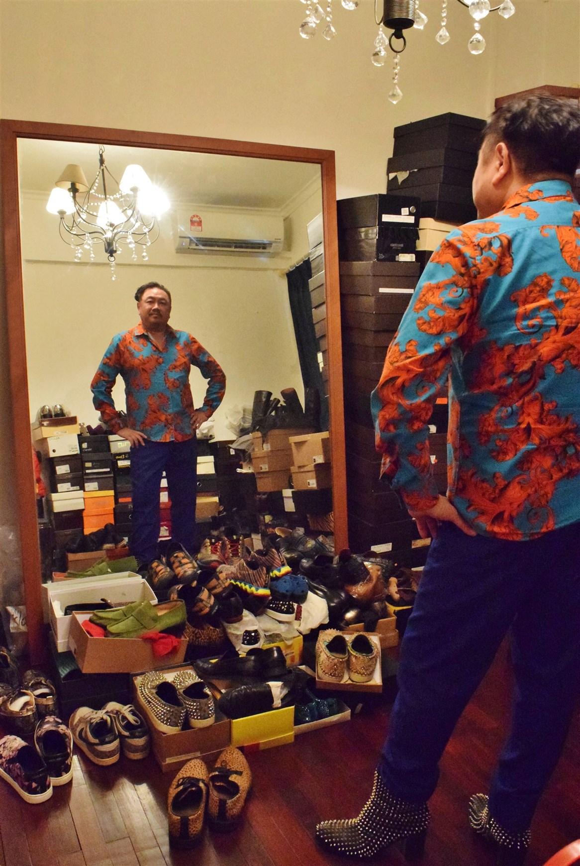 profile of datuk gordon leong, bohemian, boho-chic apartment, interview with datuk gordon leong, designer shoes, Louboutin men's shoes, Gucci men's shoes